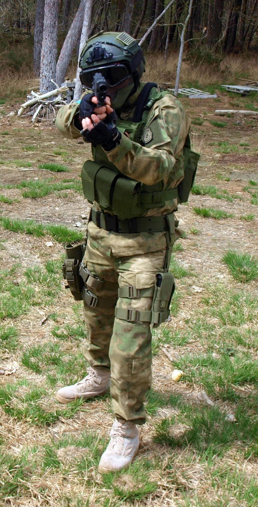 airsoft player in ATACS FG suit