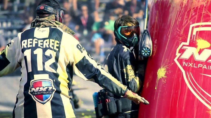 hard job the referee on paintball field